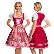 Dirndl Tracht Kleid Trachtenkleid Dirndlkleid Oktoberfest Blumen Rosa Rot Damen
