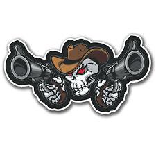 2 X Cowboy Pistola Calavera pegatinas Auto Moto Ipad Guitarra Casco Laptop calcomanía # 4084