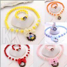 Kids Baby Jewellery Set Girls Beads Necklace Kitty Bracelet Ring uk