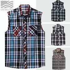 Mens Plaid Shirts Sleeveless Tee Casual Vest Button Down Flannel Pockets Biker
