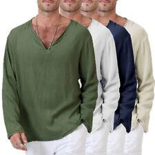 Men Long Sleeve Summer T-Shirt Cotton Linen Hippie Shirt V-Neck Beach Yoga Top#3