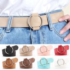 Ladies Women Round Metal Buckle Belt Jeans Dress Lady Waistband Belt