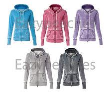 Ladies VANITY ZEN Full Zip Size S-2XL Burnout Hoodie Hooded Sweatshirt Jumper