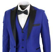 Costume homme 3 pièces bleu noir satiné style classique smoking coupe ajustée