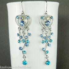 w Swarovski Crystal LONG Blue Love HEART Vine BRIDAL wedding Party Prom earrings