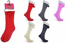 UNISEX FUR LINED GRIPPER SLIPPER SOCKS LONG POMPOM COSY Warm Chunky Knit