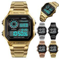 SKMEI Mens LED Digital Date Waterproof Stainless Steel Military Wrist Watch Hot