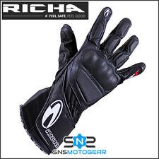 Richa WSS Summer Sports Motorcycle Motorbike Leather Gloves - Black