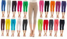 Damen 3/4 Capri Leggings Leggins kurze Knie Hose Baumwolle