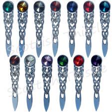 """Scottish Kilt Pin Various Stones Chrome Finish 4""""/Celtic Knot Kilts Pins Brooch"""