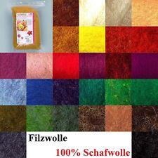(100g=8,50€) Filzwolle Märchenwolle Schafwolle Nassfilzen Trockenfilzen 28 Farbe