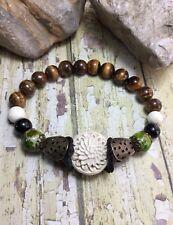 Handmade Healing Cinnabar Tigers Eye Jasper Howlite Stone Stretch Bracelet USA