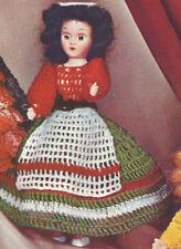 "Vintage Crochet PATTERN 8"" Doll Clothes Italian Dress Apron Belt Hat Miss Italy"