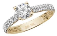 Raffinierter 9 ct/Karat Gelb Gold Solitär Verlobung Ring mit Zirkonia (synth.)