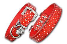 PU Leather Dog Collar Diamante Coller Pet Red Puppy Small Medium Large Spotty UK