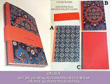 OILILY A5 NOTEBOOKS SET / SINGLES Navy Batik RED EMBOSSED KRAFT Paisley Mix GIFT