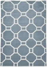 Octagon & Rectangle Rug Hong Kong Geometric Hand Tufted Large Mat Light Blue