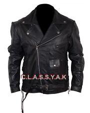 Classyak Men's Brando Style Biker Real Leather Jacket