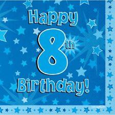 Feliz 8 Fiesta CUmpleaños Servilletas Estrella Azul 33cm Papel Celebración