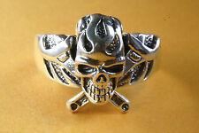 Biker muertos cabeza anillo Skull helicópteros anillo de plata 925 plata 344