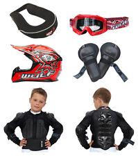 Kids MX Motocross Wulfsport Goggle Brace Knee Jkt Armour Helmet Red #X10