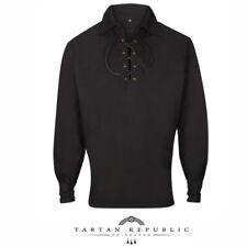 Tartan Republic Mens Black Polycotton Budget Highland Ghillie Shirt with Lace