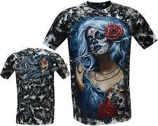 New Gothic Angel Biker Tattoo Goth Glow In Dark Tattoo Tye Dye T- Shirt M - XXL
