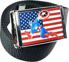Captain America American Flag Belt Buckle Bottle Opener Adjustable Web Belt