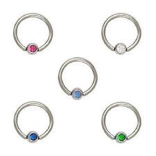"""Single 18g 5/16"""" 3mm CZ Gem Captive Ear Ring Nose Piercing Choose Gemstone Color"""