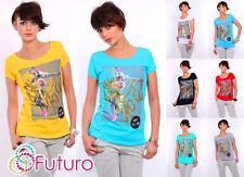 Ladies Trendy Casual Top Scoop Neck Short Sleeve Cotton T-Shirt Sizes 8-14 FB09