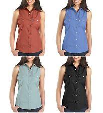 New $38 Carhartt Women's Sleeveless Stretch Poplin Snap-Front Shirt