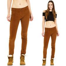 Nuevo para mujer Slim Delgado Elastizado Cordones Marrón Terciopelo Pantalones De Pana Pantalones Jeans