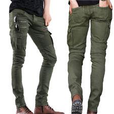 Mode Herren Punk Baumwolle Latzhose Gerade Jeans Taschen mit Reißverschluss