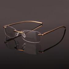 Gold Rimless Spring Hinge Eyeglasses Bifocal Reading Glasses  Reader CE Mark