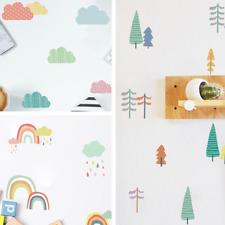 Pastell farbige Aufkleber Set DIY Wandtattoo Regenbogen Wolken Wald Sticker Deko
