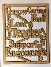Wooden Word Cloud laser cut 3 and 6mm thick Plaque Mdf Teacher Gift Keepsake