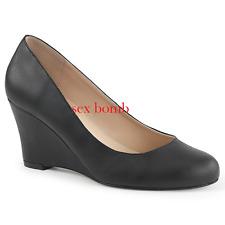 DECOLTE' ZEPPA tacco 7,5 dal 39 al 46 NERO OPACO scarpe SEXY glamour chic