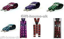 carreaux écossais bretelles réglables pour hommes femmes Pantalon élastique
