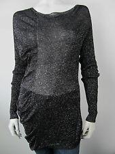 Denny Rose Bluse T-Shirt luxus Top Shirt 0620 Nero Glitter Schwarz Neu M