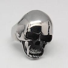 (1) Totenkopf Ring Edelstahl Biker Rocker Skull Schmuck Silber Harley Chopper