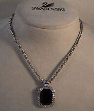 Signed Swan Swarovski Rhodium Black Rectangular Pendant Necklace NEW