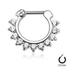 Bar Nose Septum Ring Clicker 16g 14g Single Line Pronged Cz Gems Surgical Steel