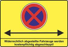 Parkverbot, Halteverbot, mit Pfeil - ALU- PVC-Schild o. Klebeschild, 3 Formate