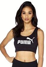 Nuevo Para mujeres Puma gran Logo Crop Top Pila Seca Gimnasio Deporte Negro UK 8 UK 10 UK 12