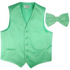 New Men's Formal Vest Tuxedo Waistcoat_pre tie bow tie solid slim fit Aqua Green