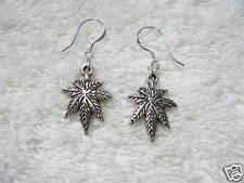 Pot Marijuana Leaf Dangle EARRINGS Sterling Silver Wire