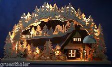 3D-LED-Schwibbogen 72 x 43 gesägt Schneemann-Paradies Wintersport  Lichterbogen
