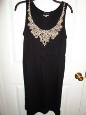 SONOMA BLACK CREAM TAN EMBROIDERED CROCHET FLORAL DRESS SUNDRESS MEDIUM NWT