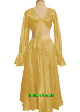 Golden - Satin Belly Dance Skirt + Top Set Tie Ruffle Dress Flamenco Full Circle