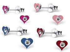 925 Sterling Silver Heart Diamanté Crystal Unique Stud Earrings Love Valentine